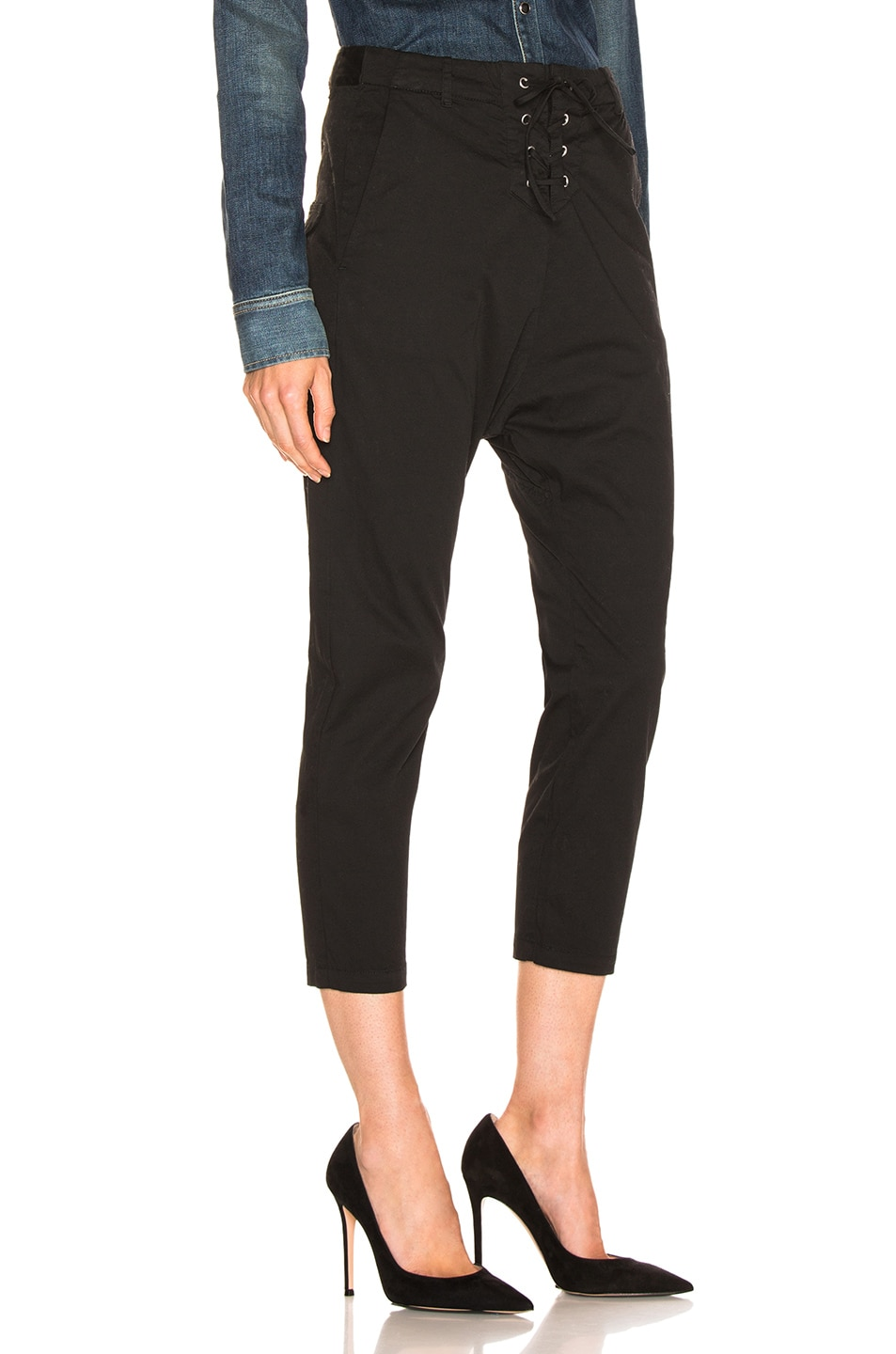 Image 2 of NILI LOTAN Lace Up Avery Pant in Jet Black