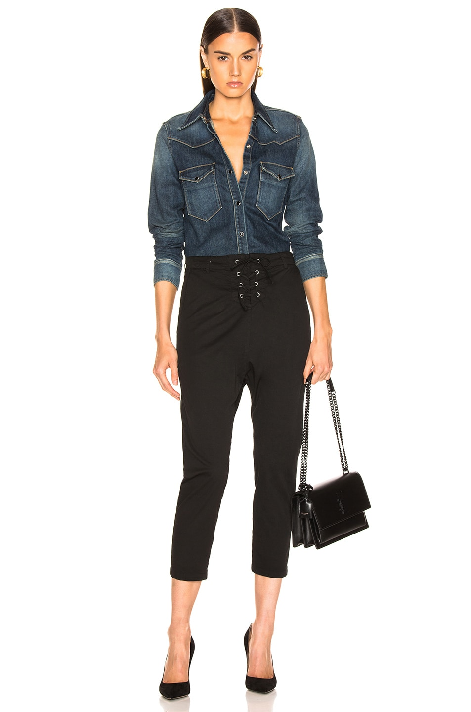 Image 4 of NILI LOTAN Lace Up Avery Pant in Jet Black