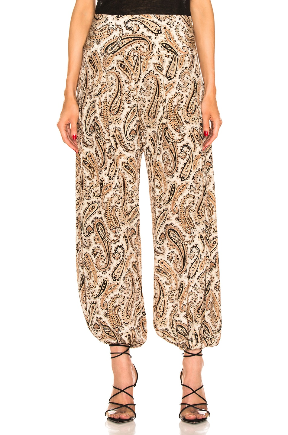 Image 1 of NILI LOTAN Moscow Pant in Black & Beige Paisley