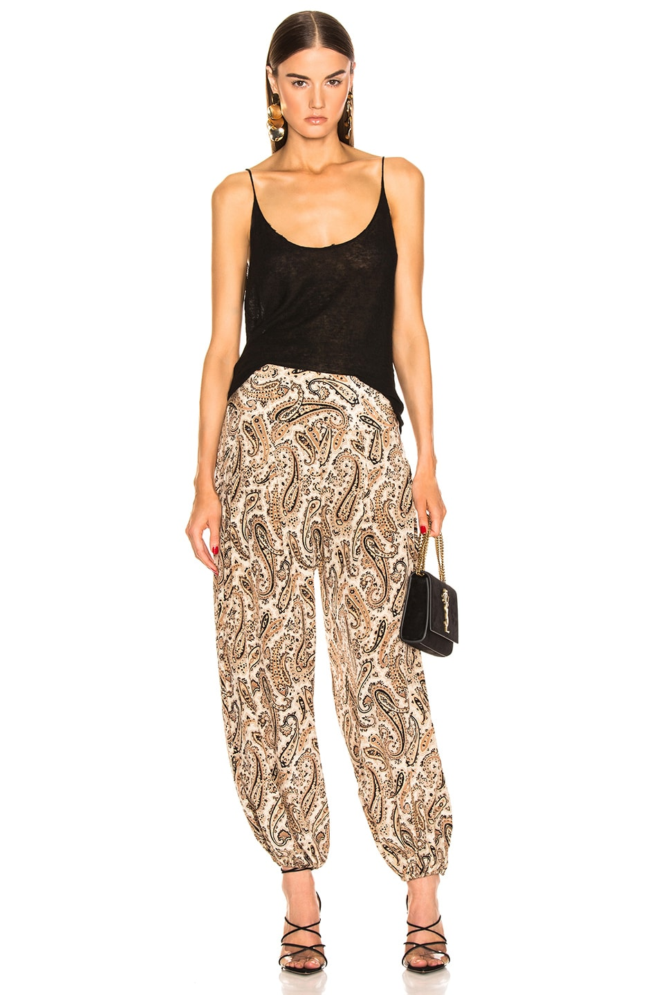 Image 4 of NILI LOTAN Moscow Pant in Black & Beige Paisley