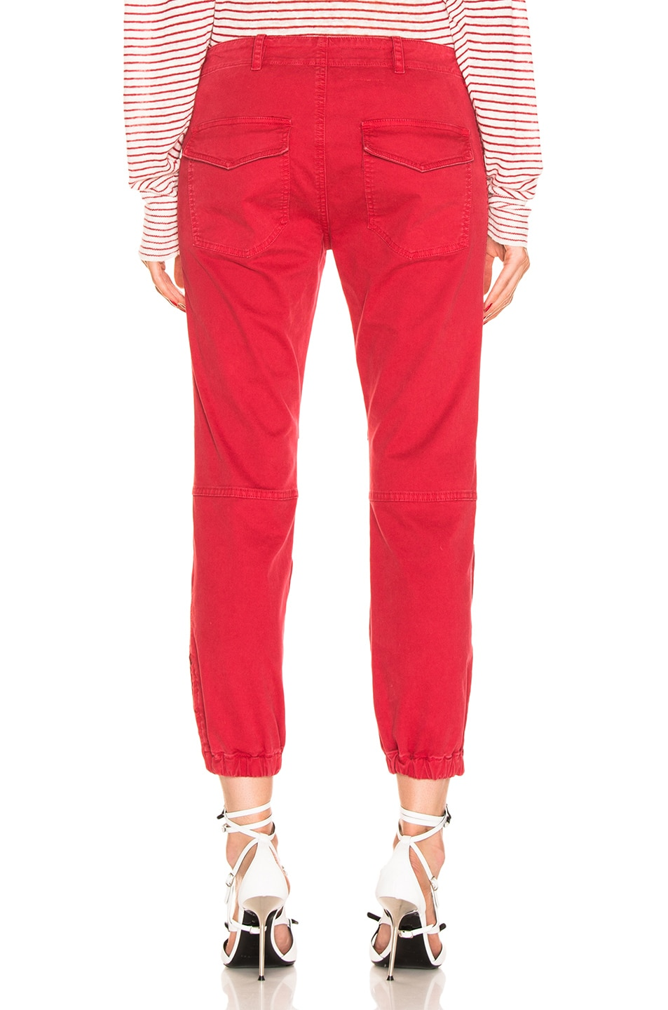 Image 3 of NILI LOTAN Cropped Military Pant in Sunkissed Red