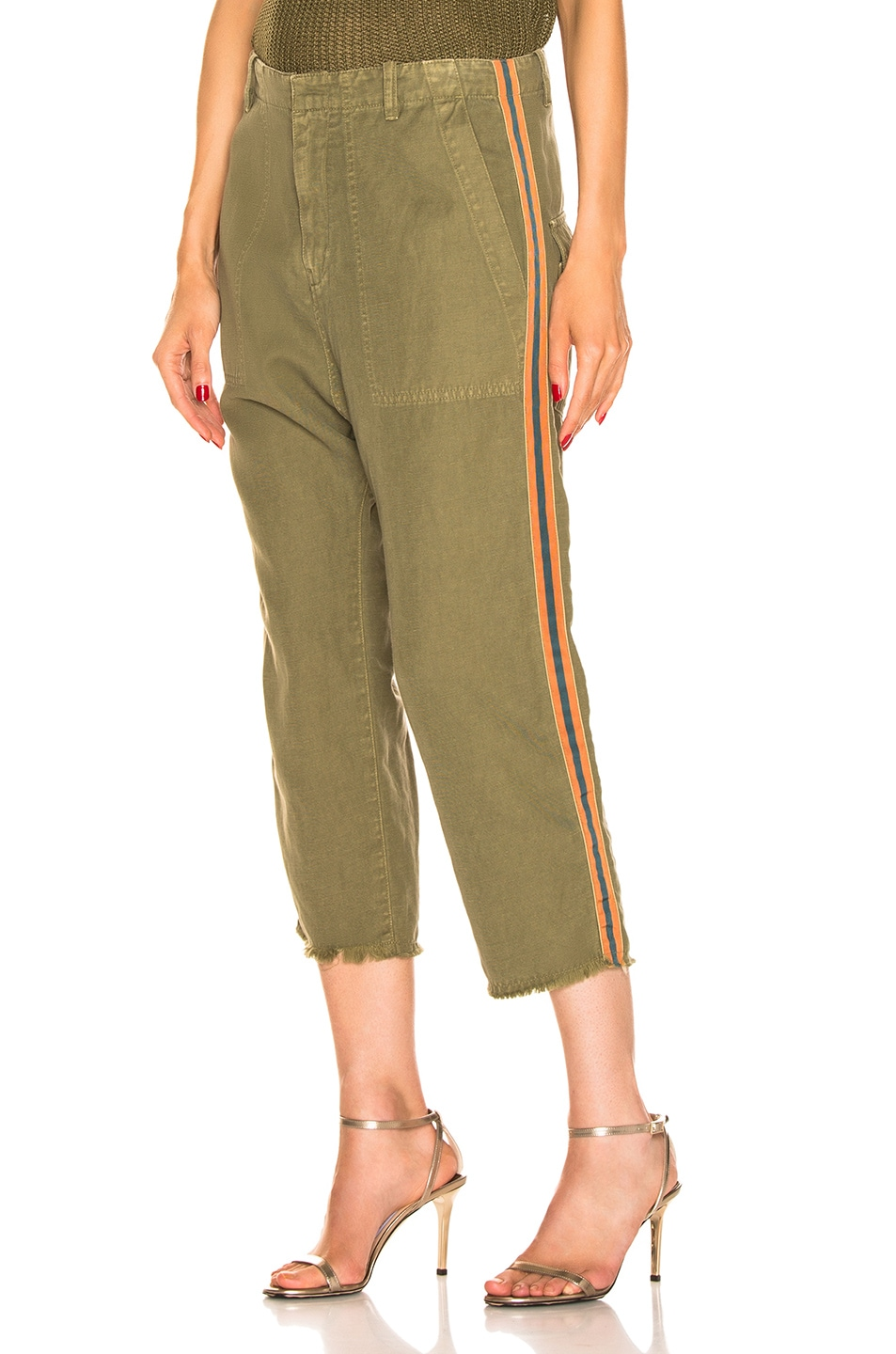 Image 1 of NILI LOTAN Luna Pant with Tape in Uniform Green, Orange, Navy Blue