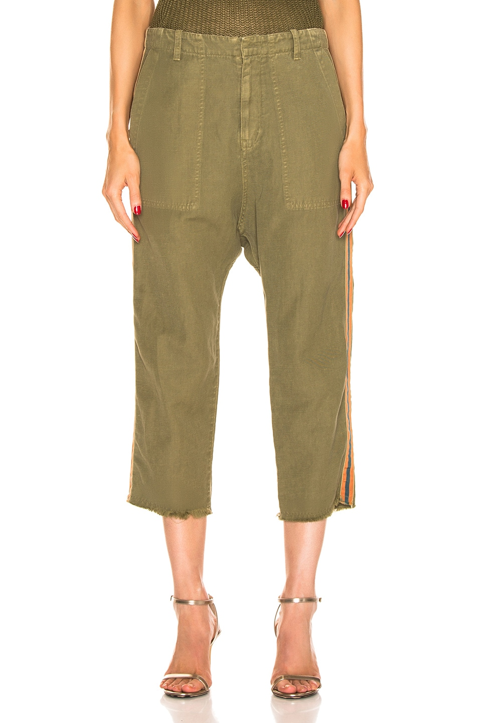 Image 2 of NILI LOTAN Luna Pant with Tape in Uniform Green, Orange, Navy Blue