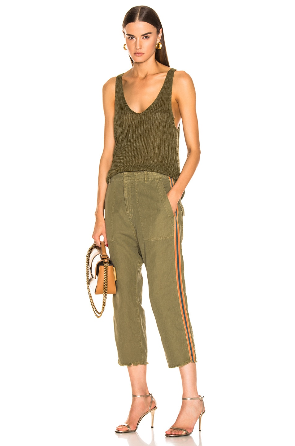 Image 5 of NILI LOTAN Luna Pant with Tape in Uniform Green, Orange, Navy Blue