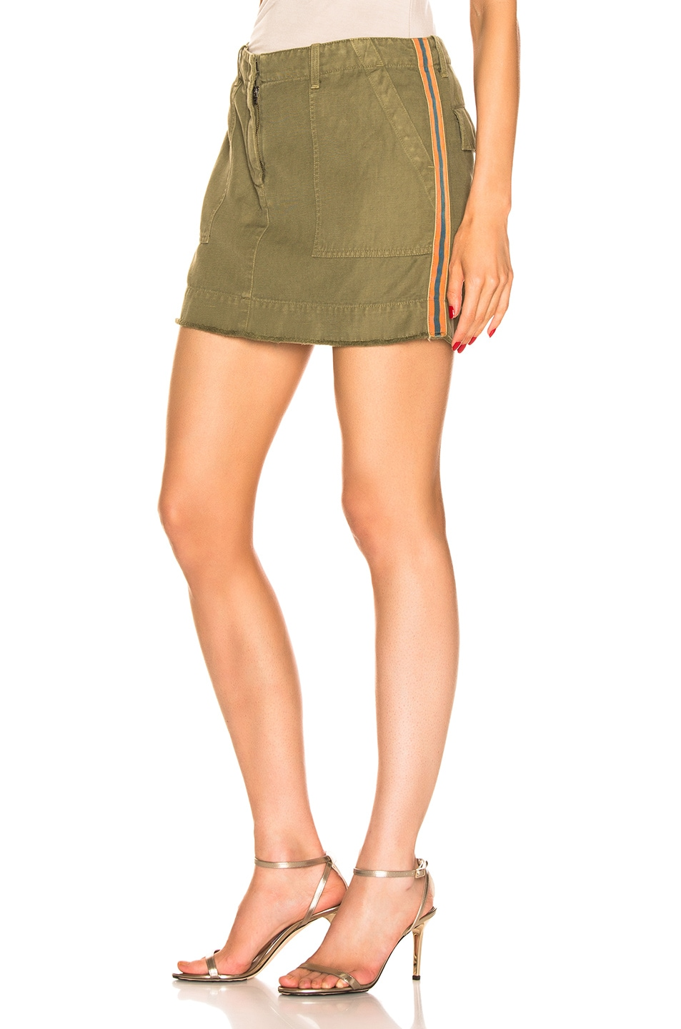 Image 1 of NILI LOTAN Ilona Skirt with Tape in Uniform Green, Orange, & Navy Blue