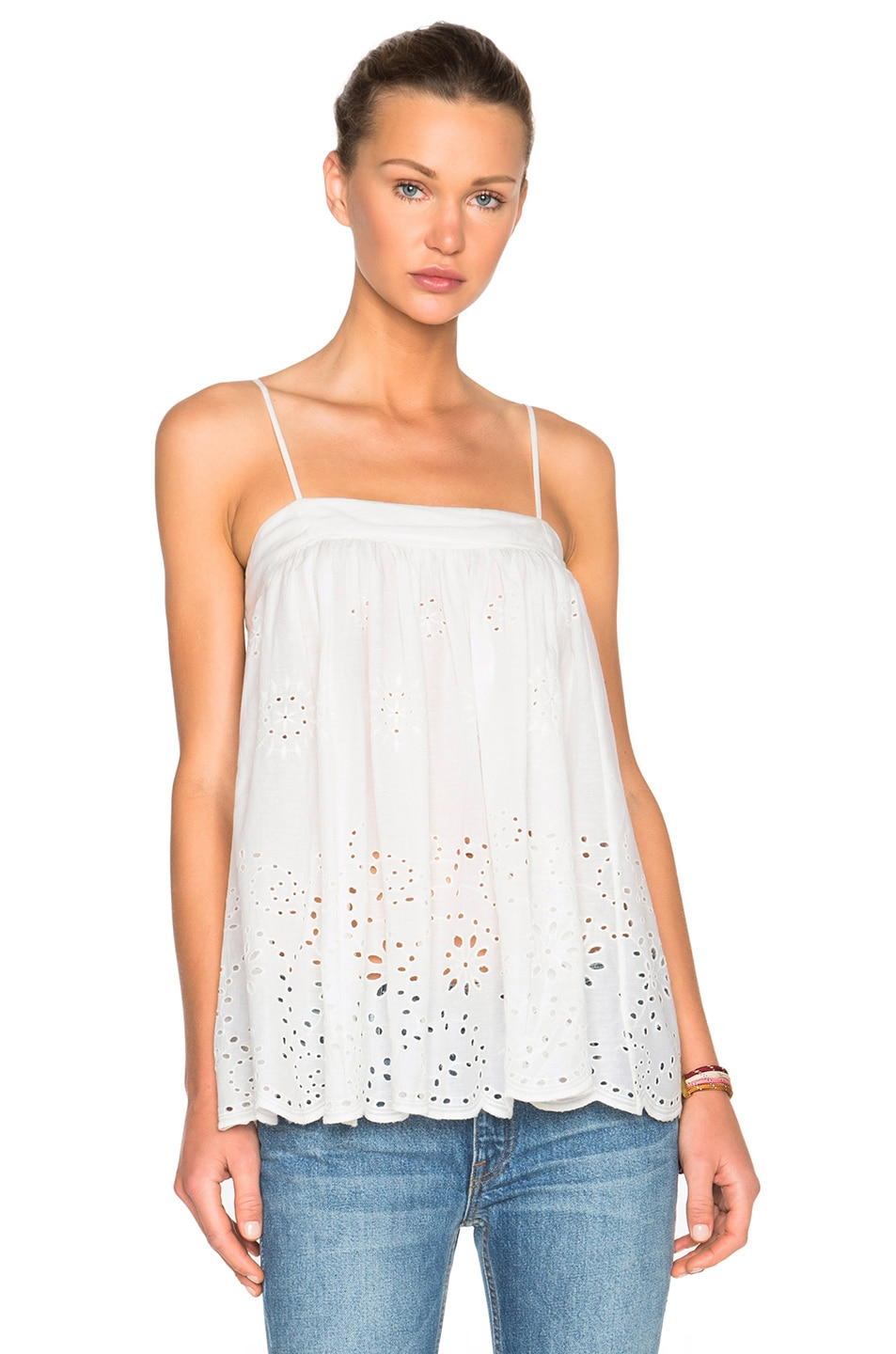 Image 1 of Nili Lotan Eyelet Marseille Top in White