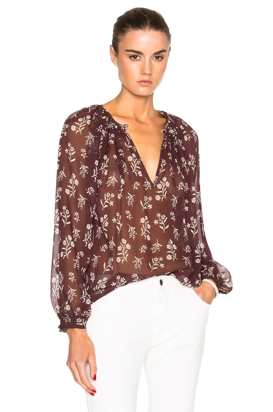 Image 1 of Nili Lotan Blossom Saint Tropez Top in Maroon & Ivory