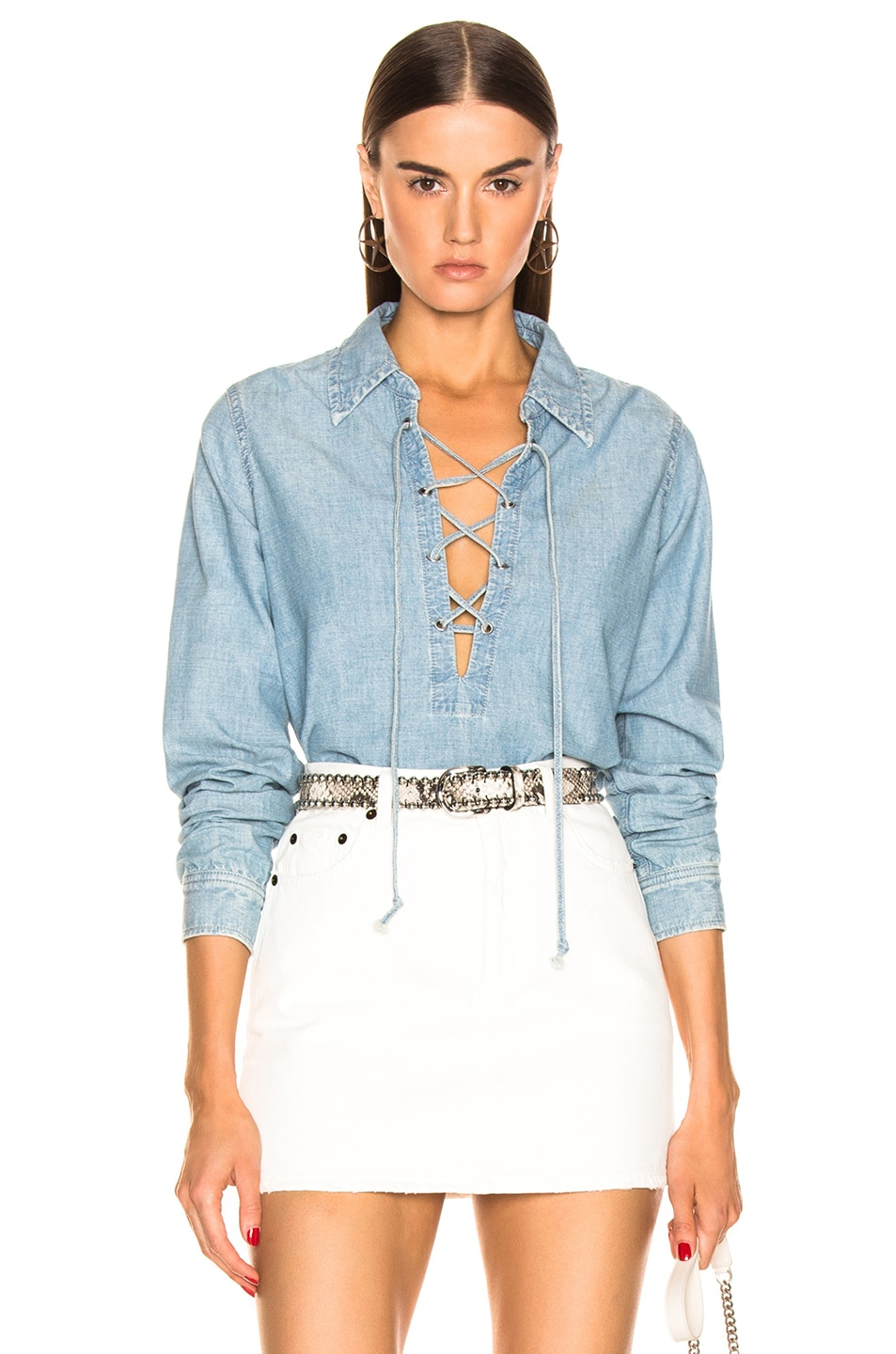 Image 1 of NILI LOTAN Mallory Shirt in Sky Blue