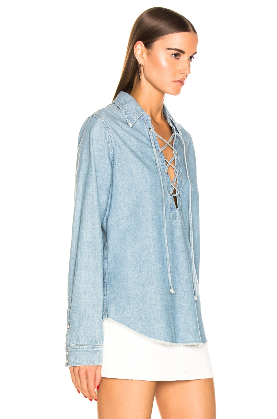 Image 2 of NILI LOTAN Mallory Shirt in Sky Blue