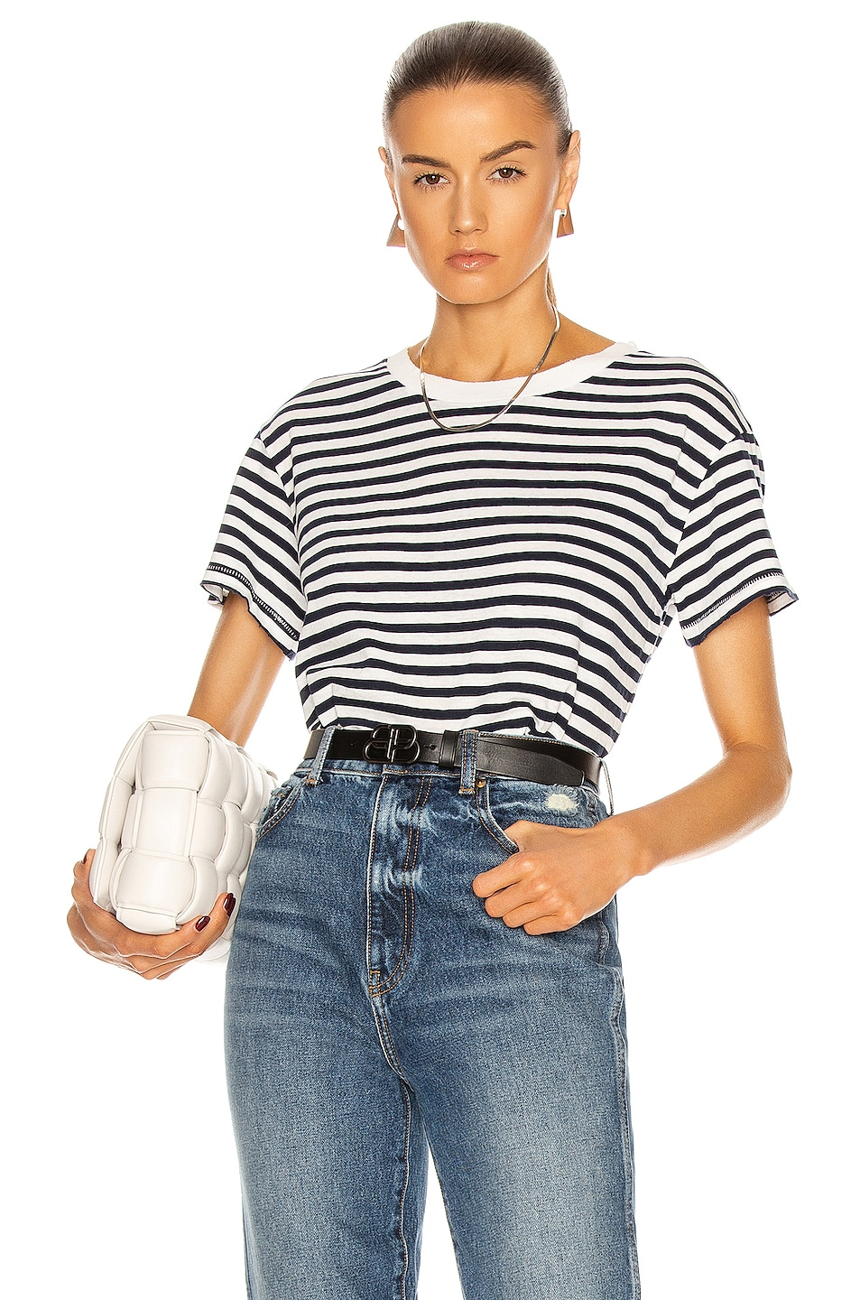 Image 1 of NILI LOTAN Stripe Brady T Shirt in Dark Navy Stripe