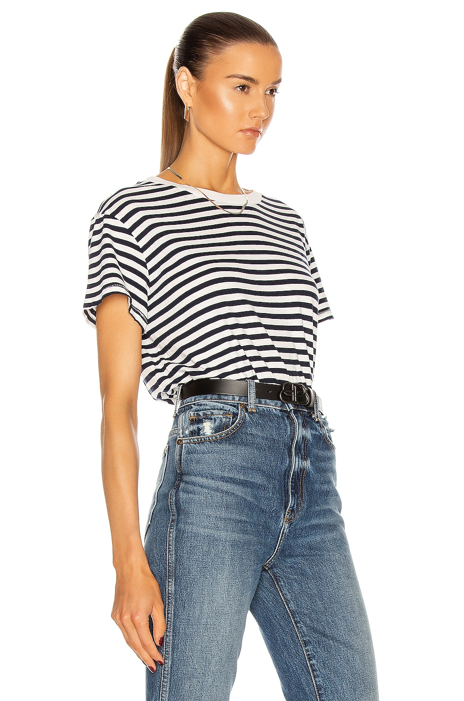 Image 2 of NILI LOTAN Stripe Brady T Shirt in Dark Navy Stripe