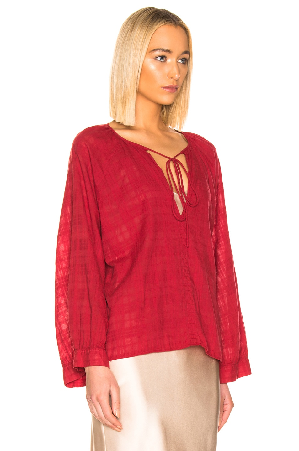 Image 2 of NILI LOTAN Aliva Top in Sheer Red Plaid