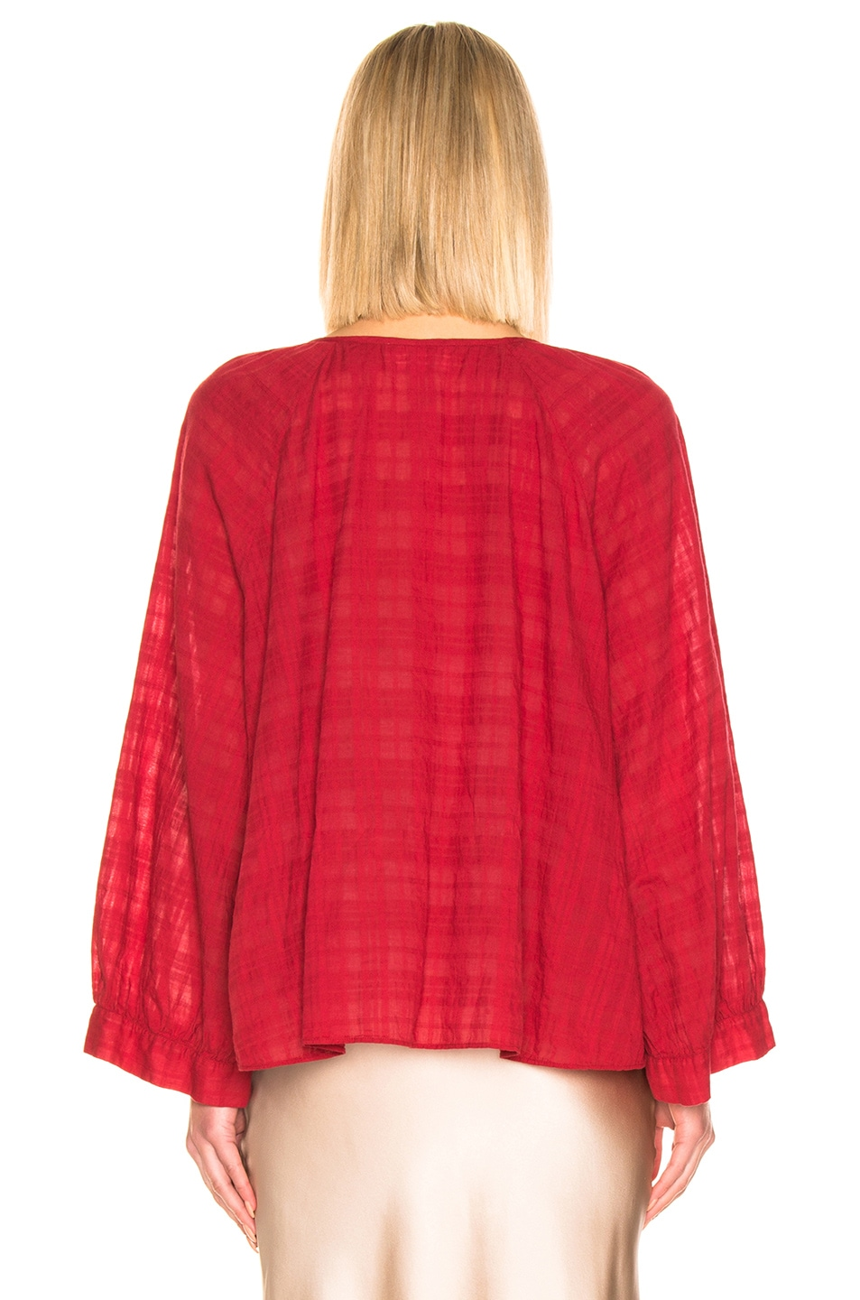 Image 3 of NILI LOTAN Aliva Top in Sheer Red Plaid