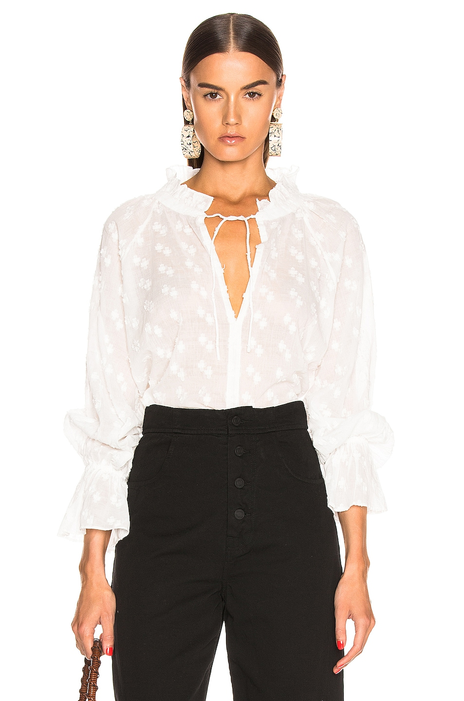 Image 1 of NILI LOTAN Thelina Top in White Crosshatch