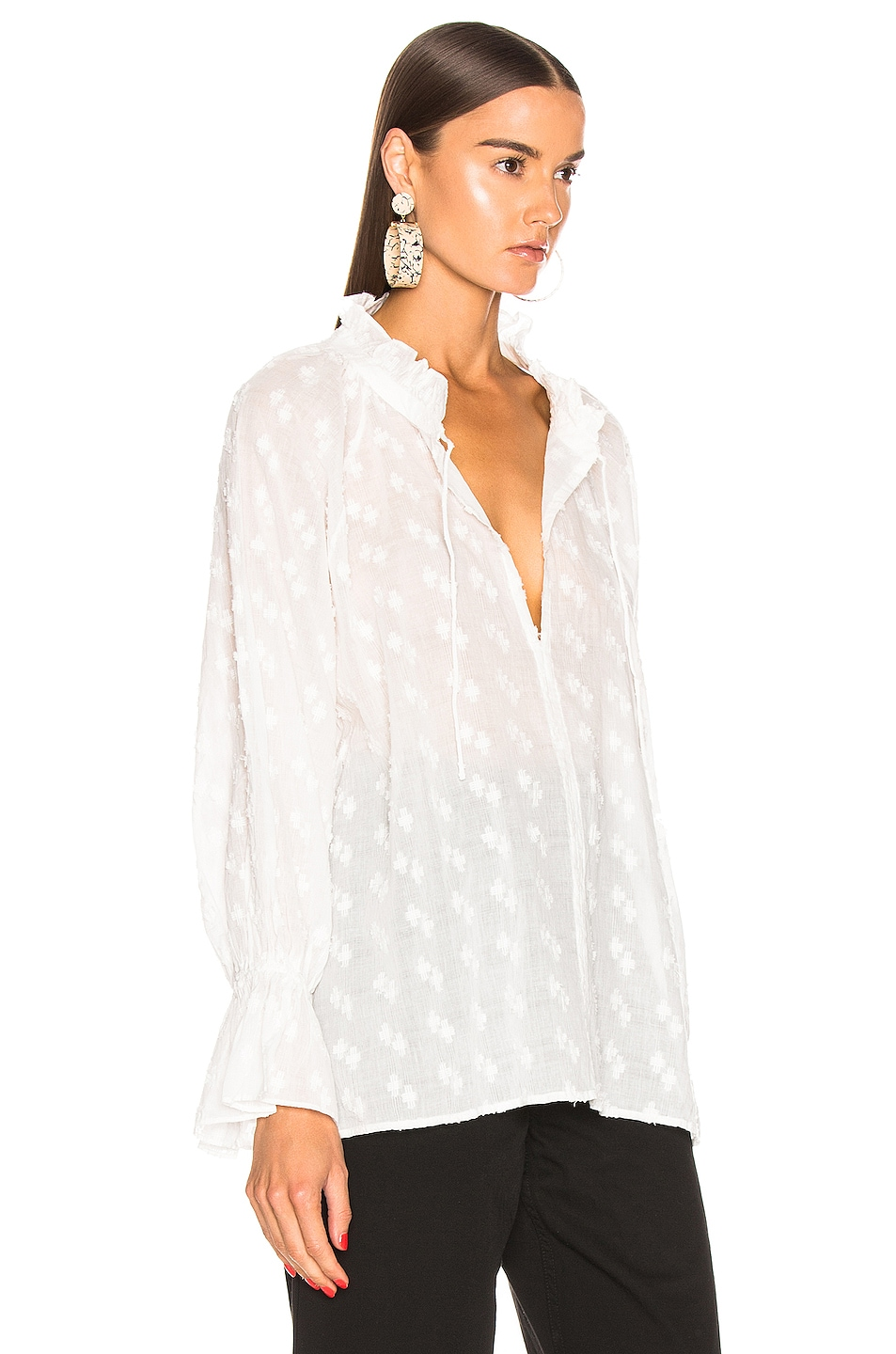 Image 2 of NILI LOTAN Thelina Top in White Crosshatch
