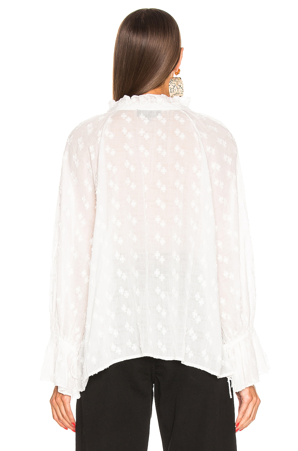 Image 3 of NILI LOTAN Thelina Top in White Crosshatch