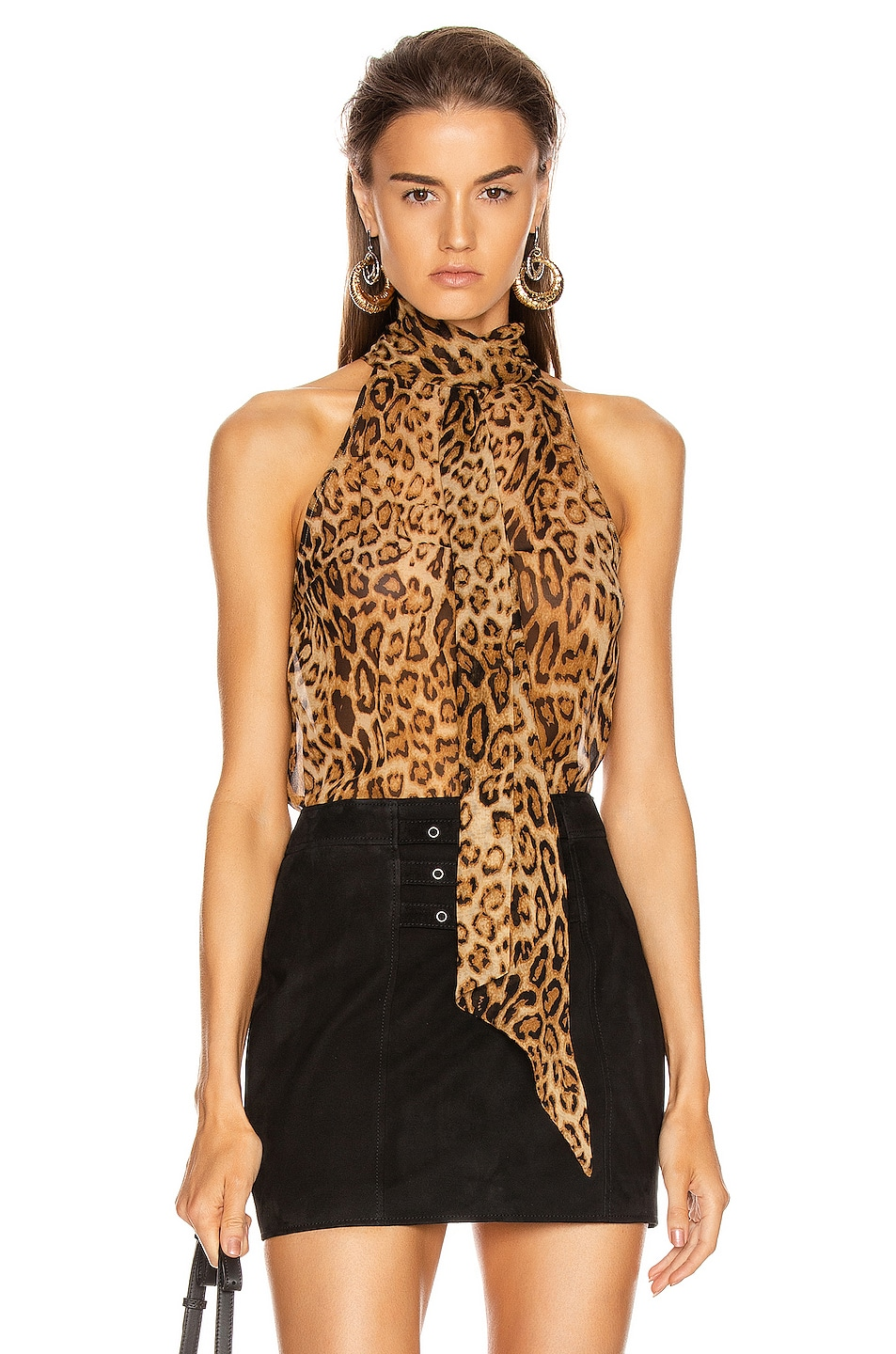 Image 1 of NILI LOTAN Alameda Top in Ginger Leopard Print