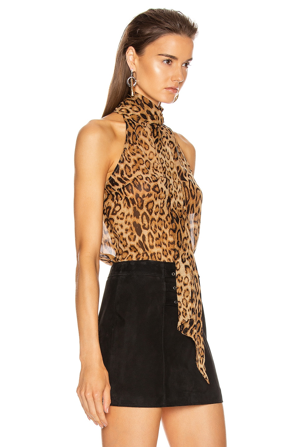 Image 2 of NILI LOTAN Alameda Top in Ginger Leopard Print