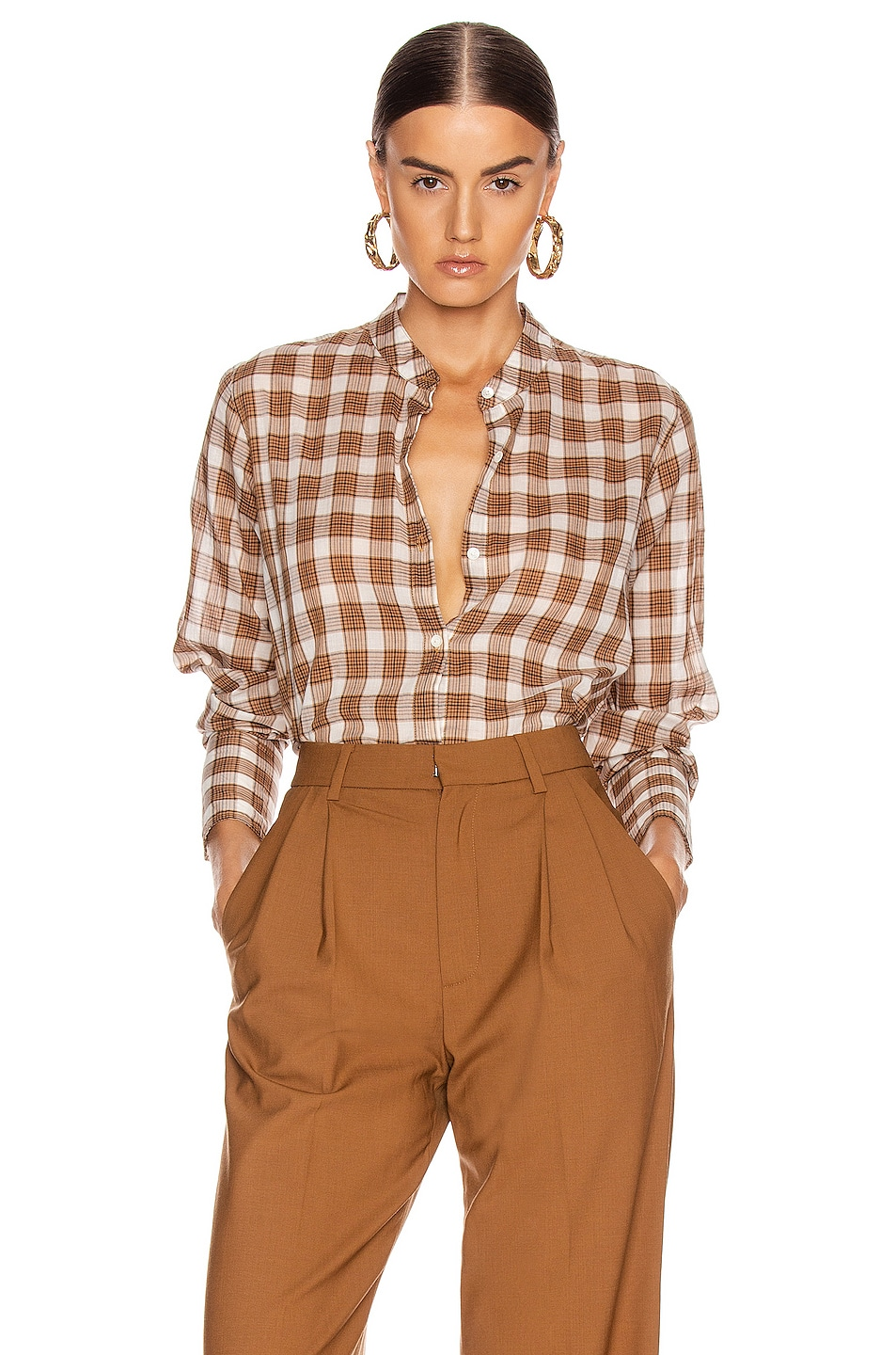 Image 1 of NILI LOTAN Judith Shirt in Ginger Plaid