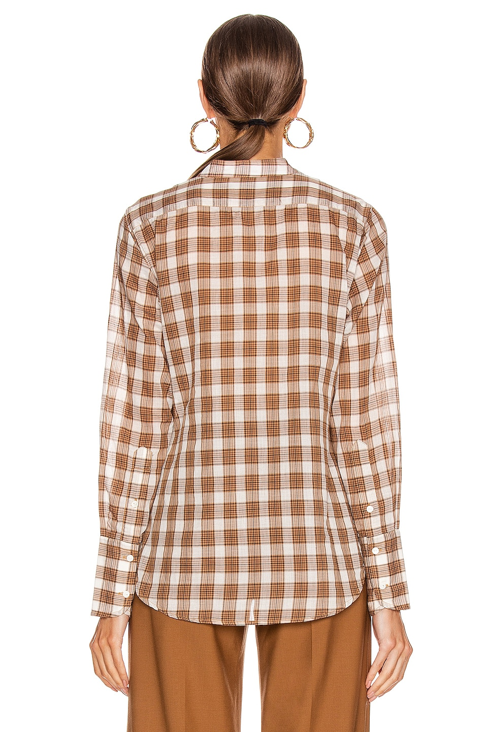 Image 3 of NILI LOTAN Judith Shirt in Ginger Plaid