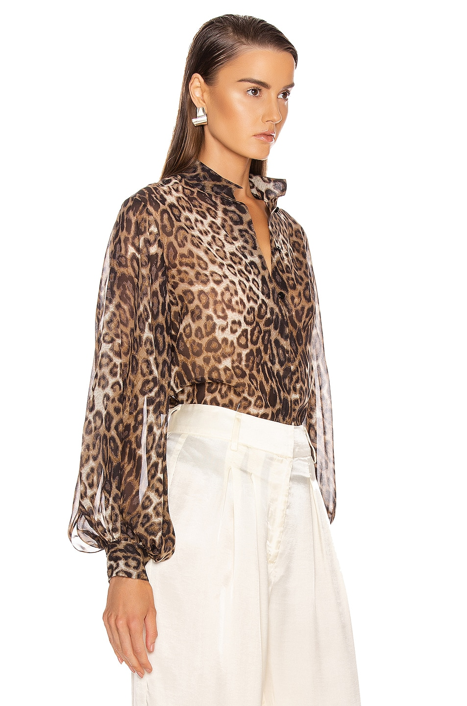 Image 2 of NILI LOTAN Evelyn Blouse in Brown Leopard Print