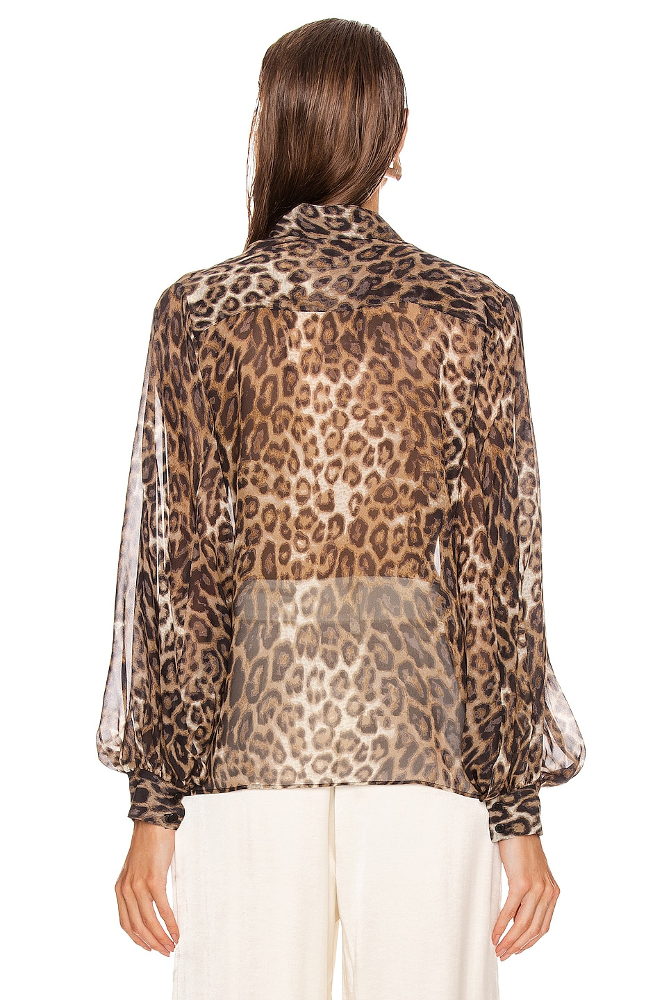 Image 3 of NILI LOTAN Evelyn Blouse in Brown Leopard Print