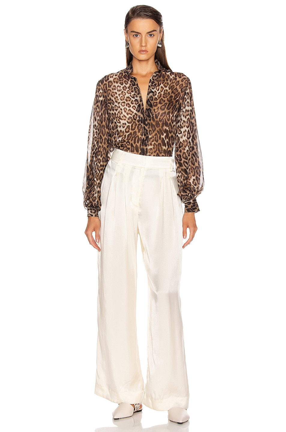 Image 4 of NILI LOTAN Evelyn Blouse in Brown Leopard Print