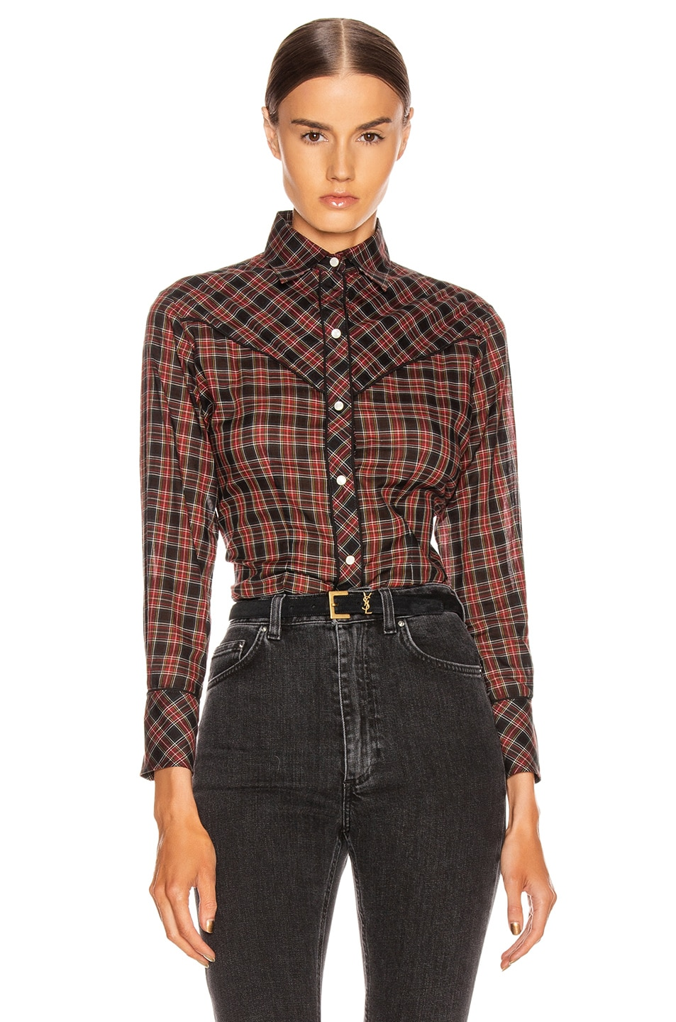 Image 1 of NILI LOTAN Ada Shirt in Black Multi Plaid