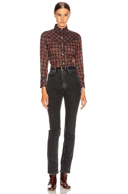 Image 4 of NILI LOTAN Ada Shirt in Black Multi Plaid