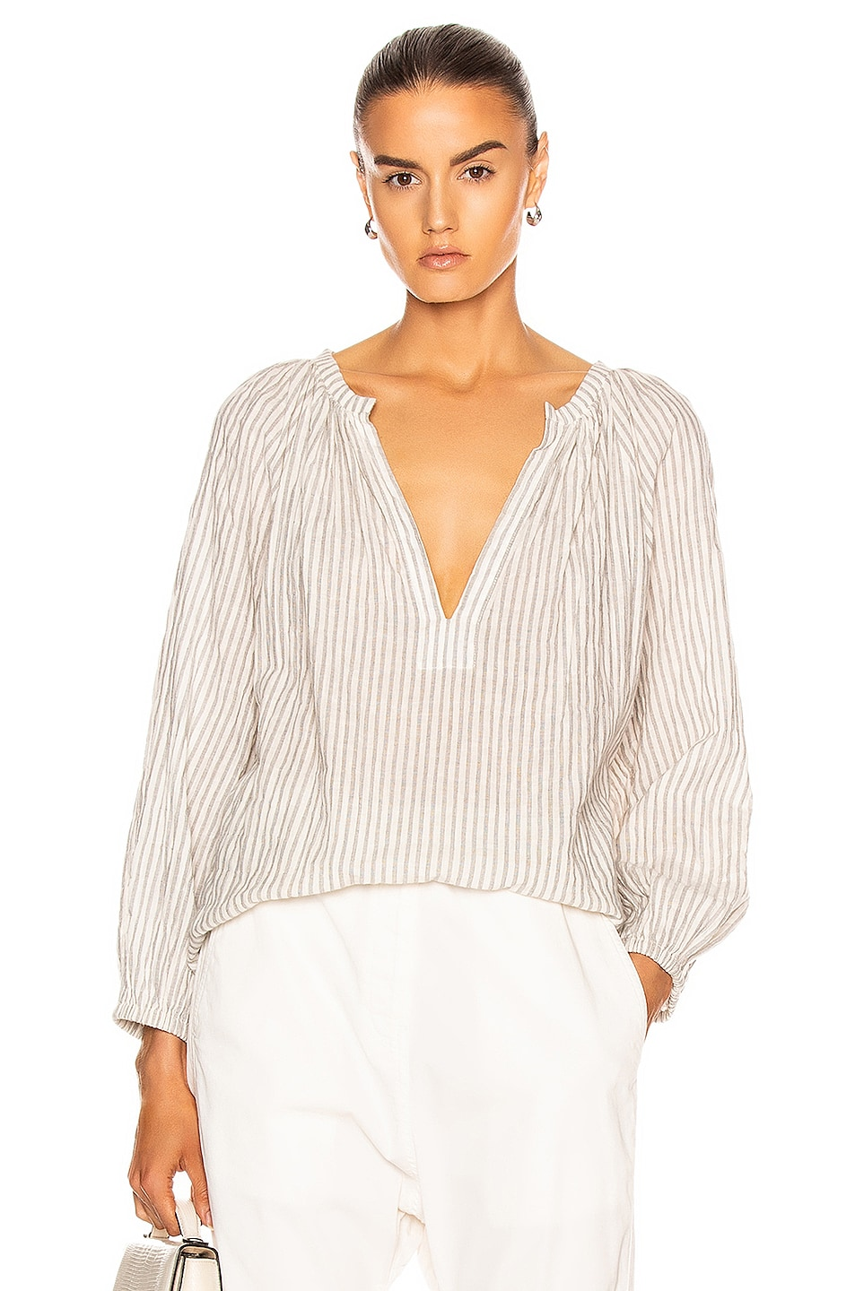 Image 1 of NILI LOTAN Brooke Top in Black & Natural Stripe
