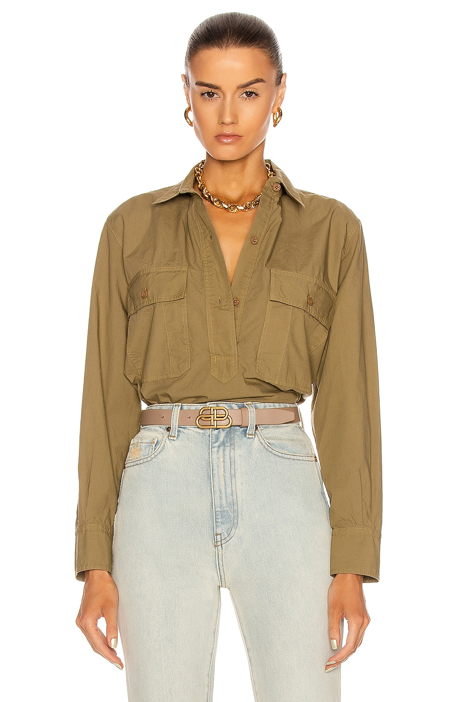 Image 1 of NILI LOTAN Shae Shirt in Moss Green