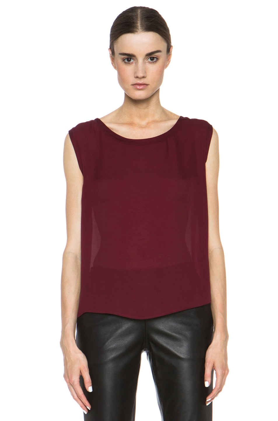Image 1 of Nili Lotan Colorblock Sleeveless Tee in Cabernet & Petunia