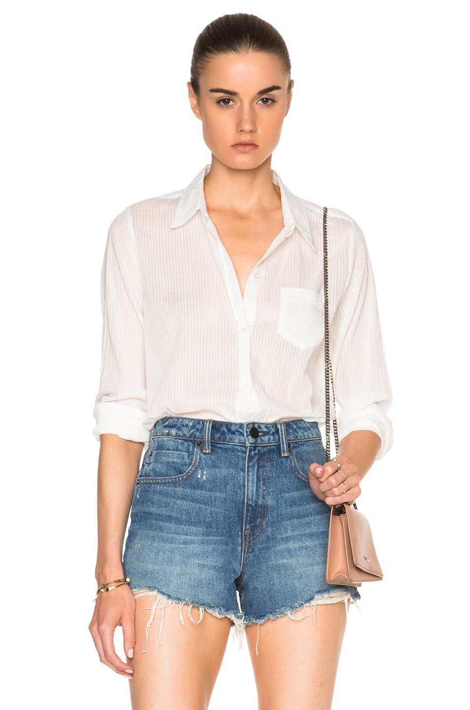 Image 1 of NILI LOTAN Button Up Top in Ivory