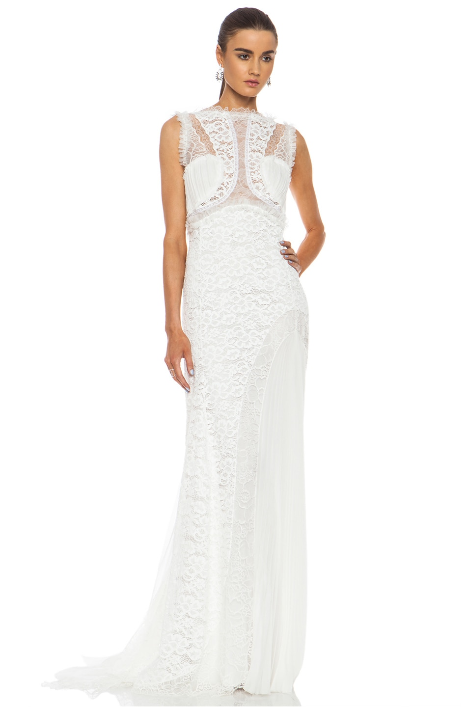 Image 1 Of Nina Ricci Lace Viscose Blend Gown In White