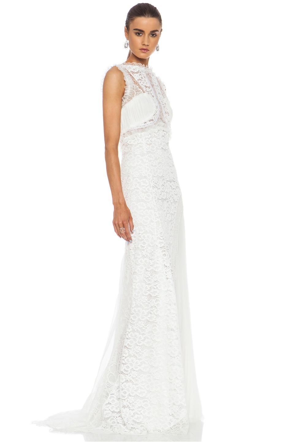Image 3 Of Nina Ricci Lace Viscose Blend Gown In White