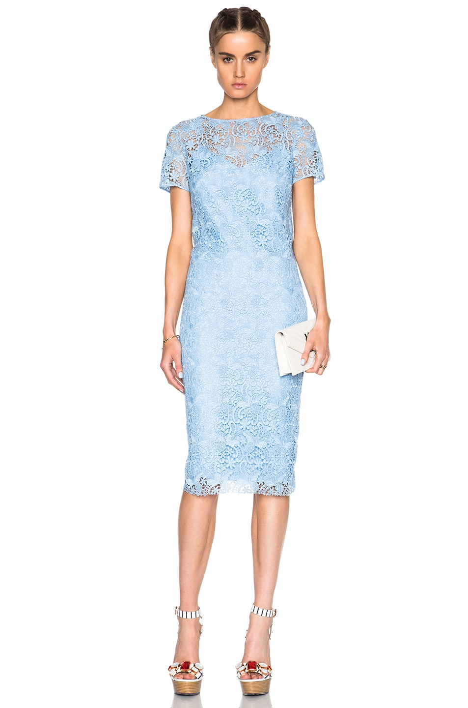 Image 1 of Nina Ricci Guipure Lace Dress in Sky Blue