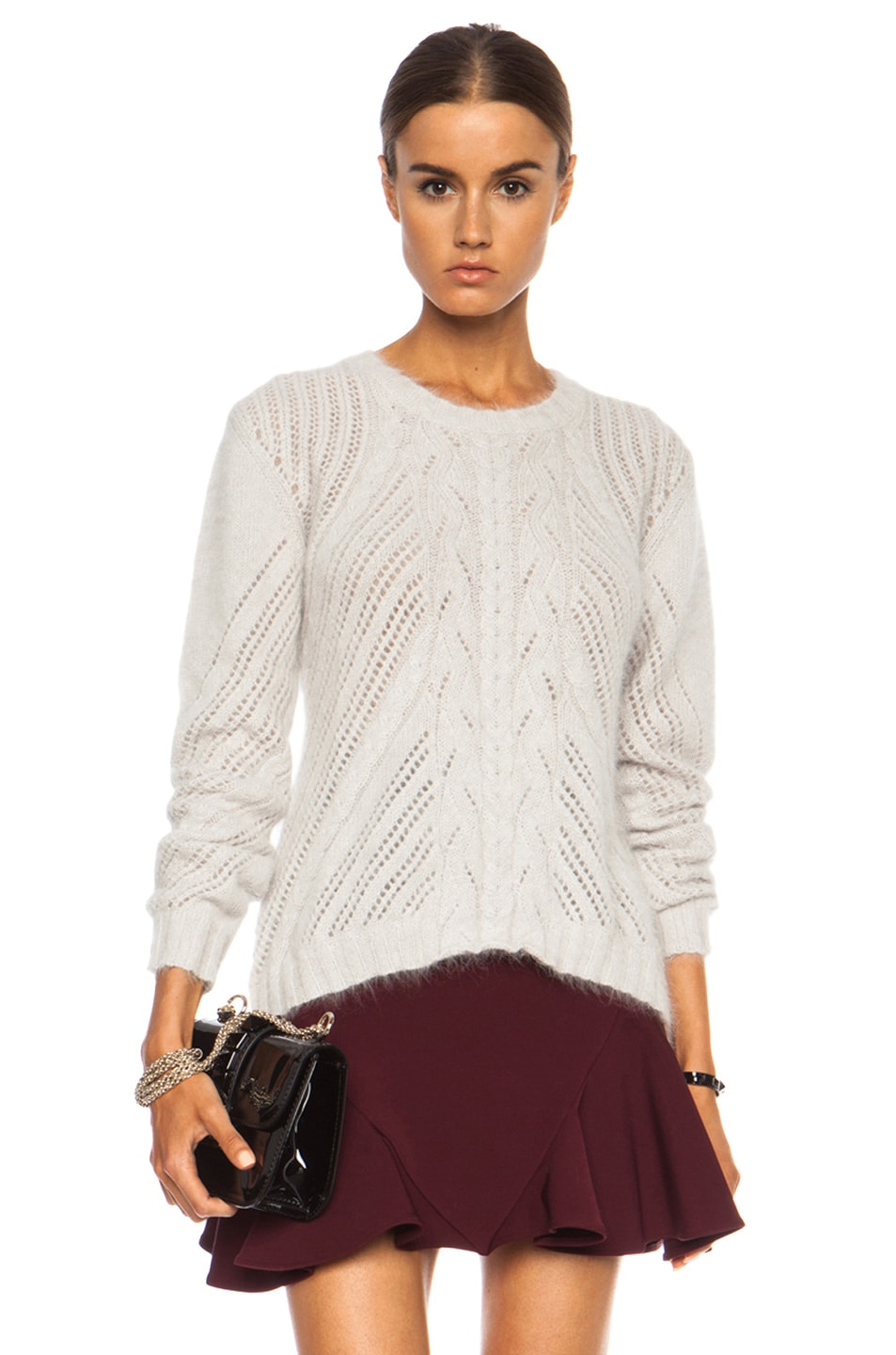 Image 1 of Nina Ricci Cable Knit Angora-Blend Pullover in Mastic