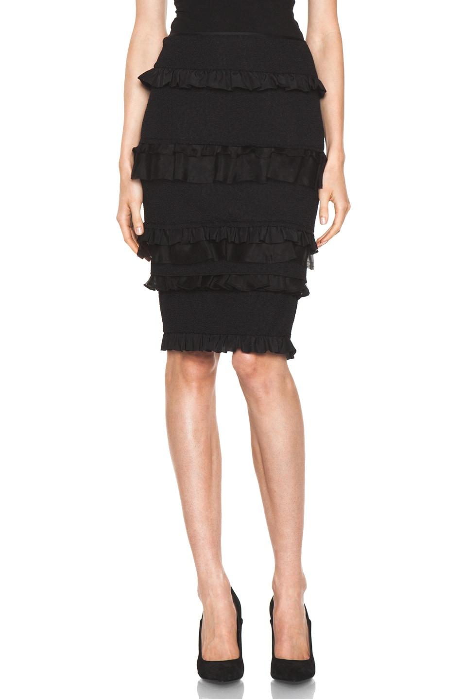 Image 1 of Nina Ricci Ruffle Pencil Skirt in Black