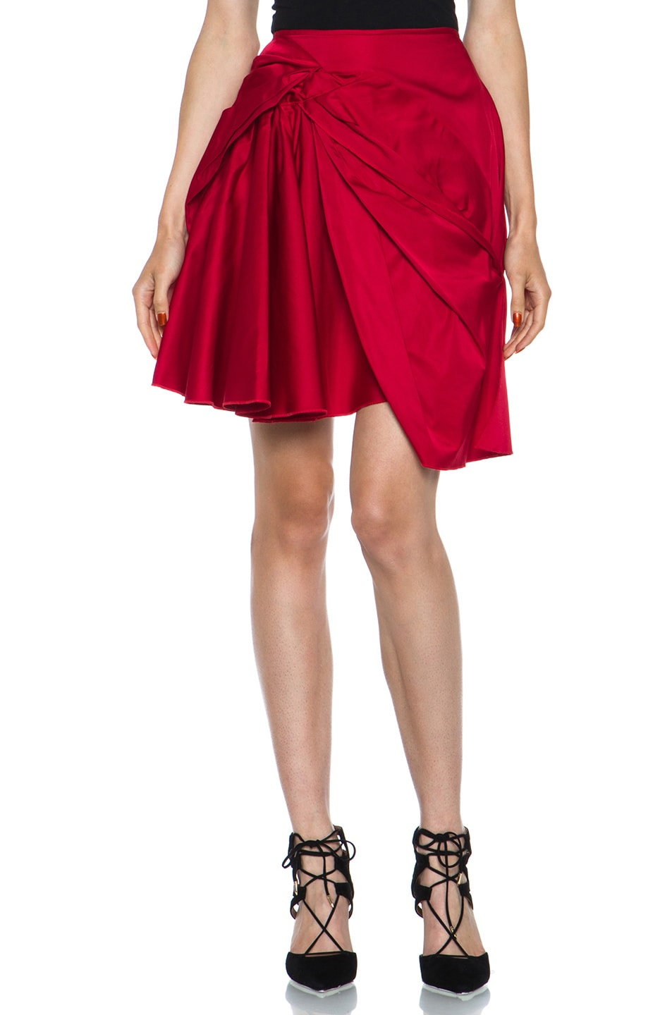 Image 1 of Nina Ricci Poly-Blend Skirt in Red