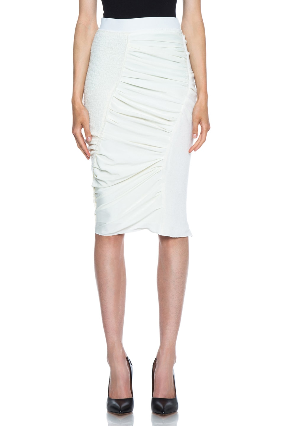 Image 1 of Nina Ricci Pencil Wool-Blend Skirt in Ivory
