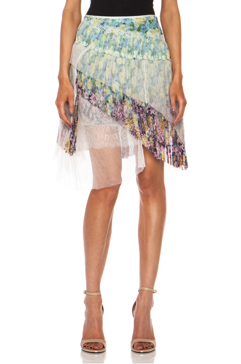 Image 1 of Nina Ricci Tiered Ruffle Silk Skirt in Multi