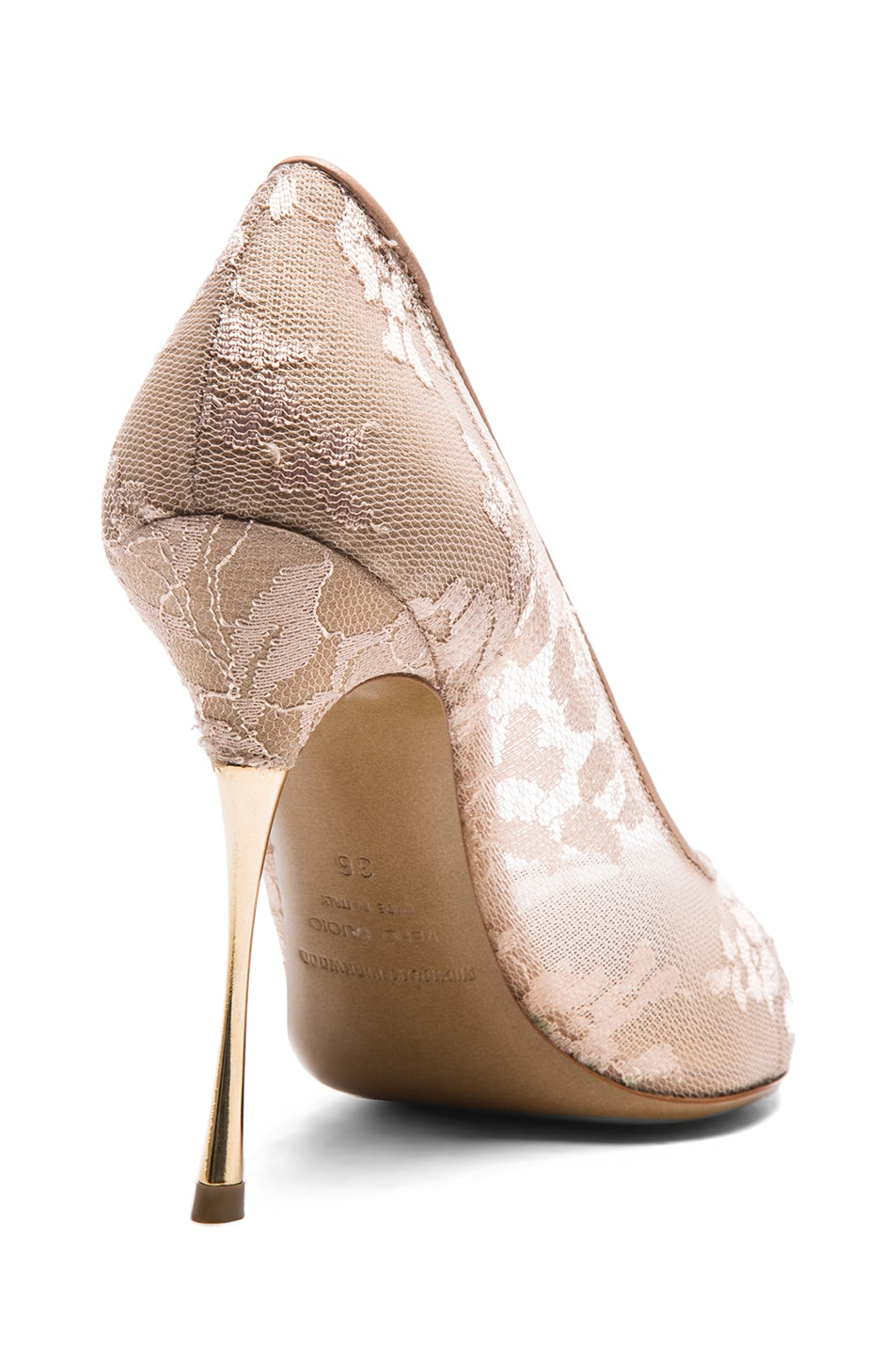 Image 3 of Nicholas Kirkwood Lace Pumps in Nude