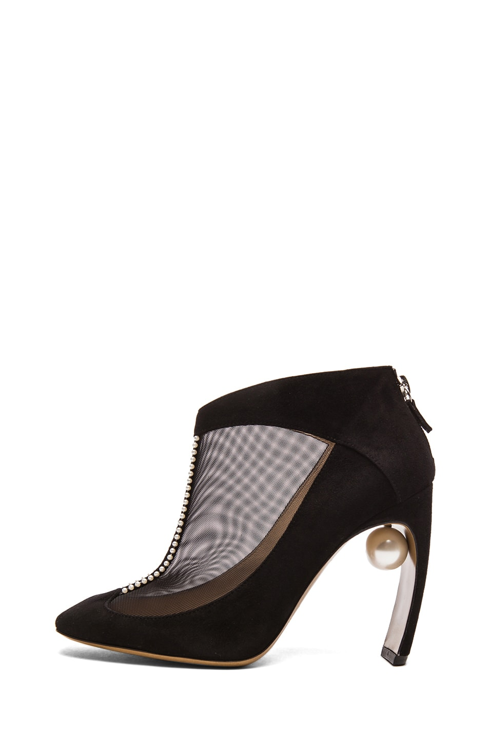 Image 1 of Nicholas Kirkwood Suede & Net Ankle Boots with Pearl Detail in Black