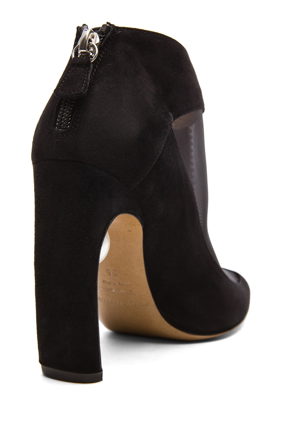 Image 3 of Nicholas Kirkwood Suede & Net Ankle Boots with Pearl Detail in Black