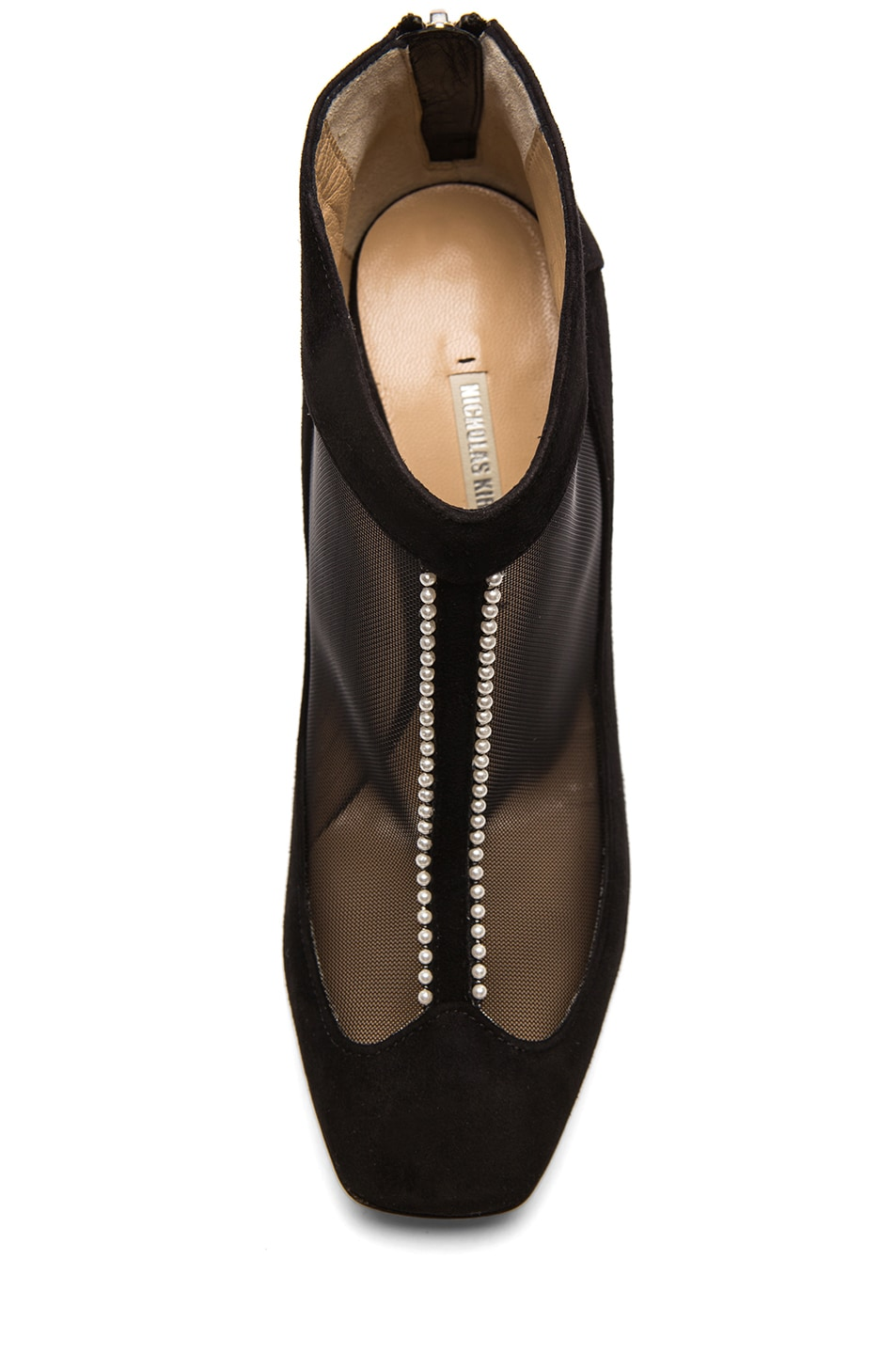 Image 4 of Nicholas Kirkwood Suede & Net Ankle Boots with Pearl Detail in Black