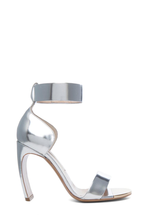 Image 1 of Nicholas Kirkwood Curved Heel Leather Sandals in Silver