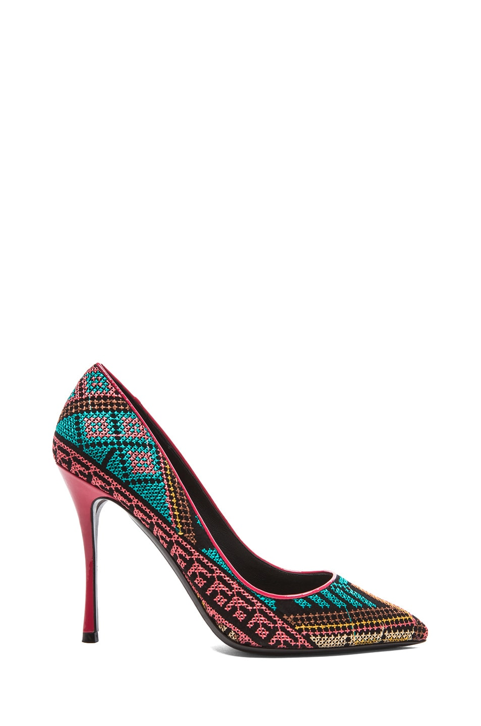 Image 1 of Nicholas Kirkwood Mexican Embroidered Heels in Aqua & Coral
