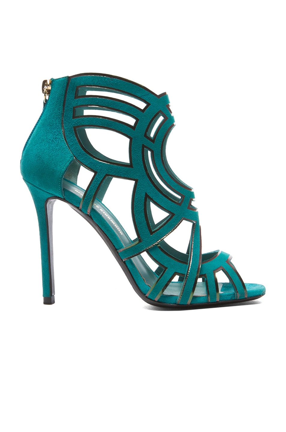 Image 1 of Nicholas Kirkwood Laser Cut Suede Booties in Teal