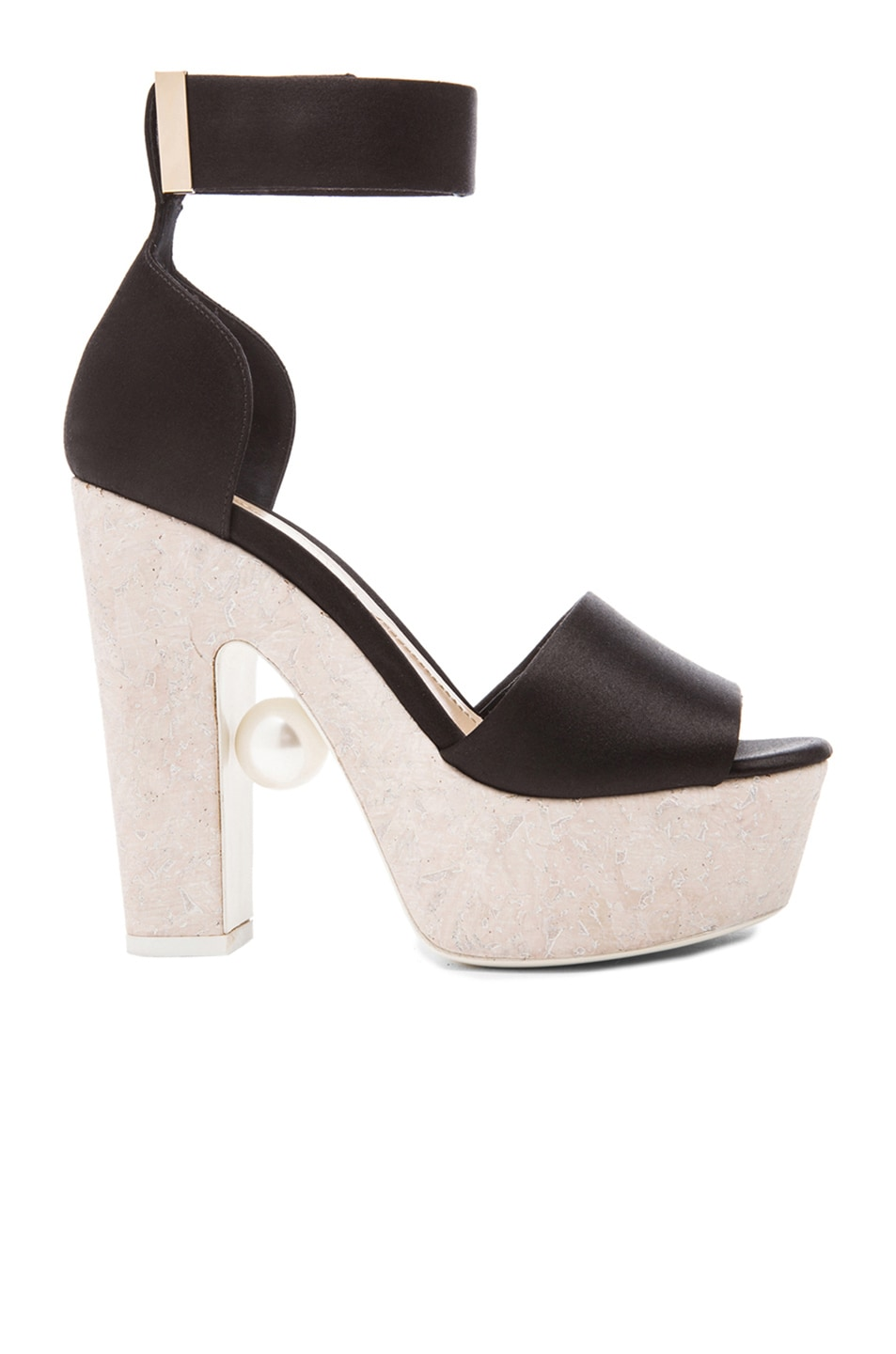 Image 1 of Nicholas Kirkwood Pearl Satin Wedges in Black