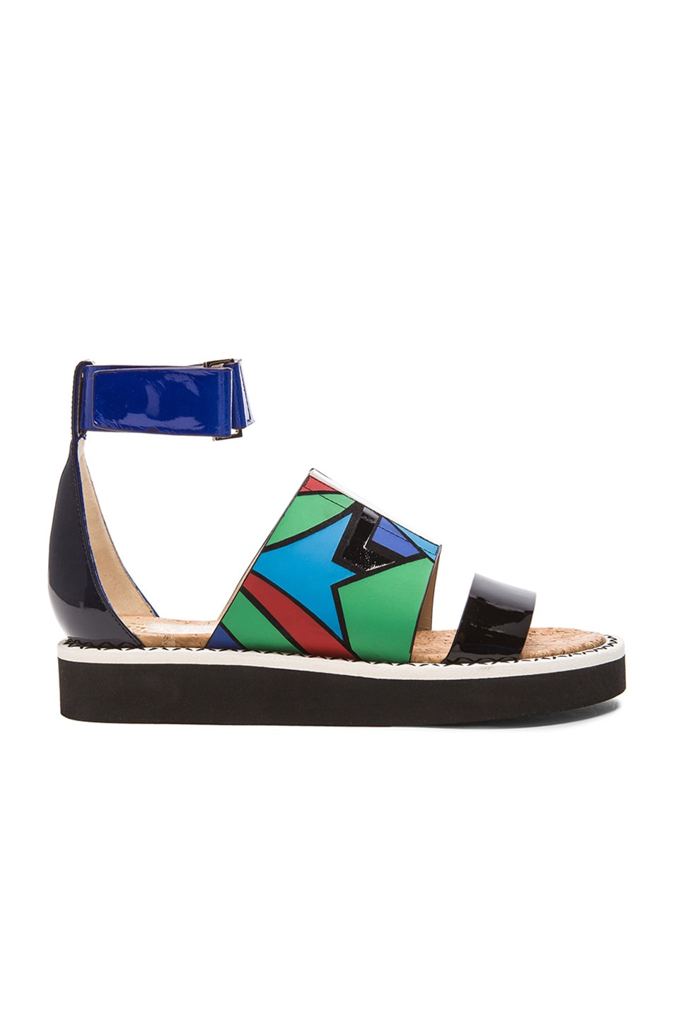Image 1 of Nicholas Kirkwood x Peter Pilotto Leather Sandals in Blue Printed